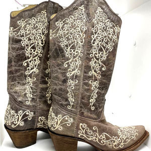 Corral Brown Crater Bone Embroidery Boots 7.5M